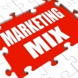 Marketing Mix Puzzle Shows Marketplace Place Price Product And P — Stock Photo