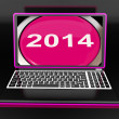 Two Thousand And Fourteen On Laptop Shows New Year 2014 — Stock Photo