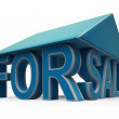 For Sale Sign Under Home Roof — Stock Photo