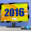 Two Thousand And Sixteen On Monitor Shows Year 2016 — Stock Photo #32852593