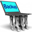 Backup Character Laptop Shows Archive Back Up And Storing — Stockfoto