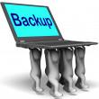 back-teken laptop toont archief bijvallen en opslaan — Stockfoto