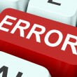 Error Key Shows Mistake Fault Or Defects — Стоковая фотография