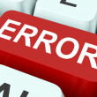 Error Key Shows Mistake Fault Or Defects — Stock Photo