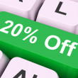 Twenty Percent Off Key Means Discount Or Sal — Stock Photo