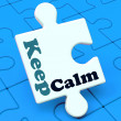 Keep Calm Puzzle Shows Calming Relax And Composed — Stock Photo
