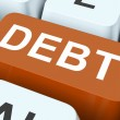 Stock Photo: Debt Key Show Indebtedness Or Liabilitie