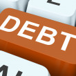 Debt Key Show Indebtedness Or Liabilitie — Stock Photo #32852751