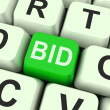 Bid Key Shows Online Auction Or Bidding — Stock Photo