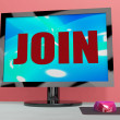 Stock Photo: Join On Monitor Shows Registration Membership Or Volunteer