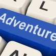 Adventure Key Means Ventur — Stock Photo