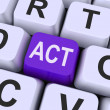 Act key Means Perform Or Actin — Stock Photo