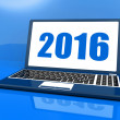 Two Thousand And Sixteen On Laptop Shows Year 2016 — Stock Photo