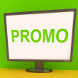 Promo Screen Shows Promotional Discounts And Rebate — Stock Photo