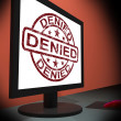 Denied Computer Showing Internet Rejection Deny Decline Or Refus — Stock Photo