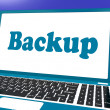 Backup Laptop Shows Archiving Back Up And Storage — Stok fotoğraf