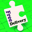 Free Delivery Puzzle Shows No Charge Or Gratis To Deliver — Stock Photo