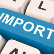 Import Key Means Importing Or Import — Stock Photo