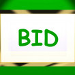 Bid On Screen Shows Bidding Bidder Or Auction — Stock Photo
