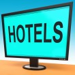 Hotel Monitor Shows Motel Hotels And Room — Stock Photo