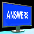 Stock Photo: Answers Screen Shows Support Assistance And Help Online