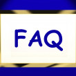 Foto de Stock  : Faq On Screen Shows Assistance Or Frequently Asked Questions Onl