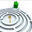 Key To Home In Maze Shows Property Search — Stock Photo