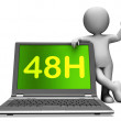Forty Eight Hour Laptop Character Shows 48h Service Or Delivery — Foto de Stock