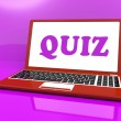 Stock Photo: Quiz Laptop Means Test Quizzing Or Questions Onlin
