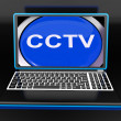 CCTV Laptop Monitor Shows Security Protection Or Monitoring Onli — Stock Photo