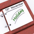 Holiday On Planner Shows Vacation Date Booked — Stock Photo