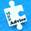 Tax Advice Puzzle Shows Taxation Irs Help — Foto Stock #32853539
