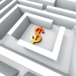 Dollar Sign In Maze Shows Finding Dollars — Stock Photo