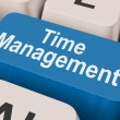 Time Management Key Shows Organizing Schedule Online — Stock Photo