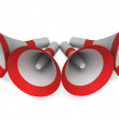 Foto de Stock  : Megaphones Shows Announce Broadcast Announcing Or Loudspeakers