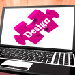 Design On Laptop Shows Creative Designer Artistic Designing — Stock Photo