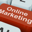 Online Marketing Key Shows Web Emarketing And Sales — Stock Photo