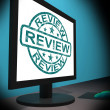 Review Screen Means Examine Reviewing Or Reassess — Stock Photo