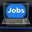 Jobs On Laptop Shows Unemployment Jobless Or Hiring Online — Stock Photo