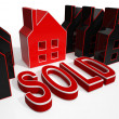 Sold House Displays Sale Of Real Estate — 图库照片