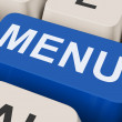 Menu Keys Shows Ordering Food Menus Online — Stock Photo