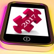 2017 On Smartphone Show Forecasting New Year — Stock Photo