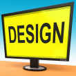 Design On Monitor Shows Creative Artistic Designing — 图库照片