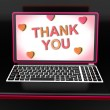 Thank You On Laptop Shows Appreciation Thanks And Gratefulness — Foto Stock