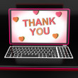 Thank You On Laptop Shows Appreciation Thanks And Gratefulness — Foto de Stock