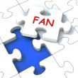 Fan Jigsaw Shows Follower Likes Or Internet Fans — Stock Photo