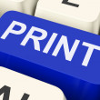 Stock Photo: Print Key Shows Printer Printing Or Printout