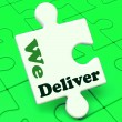 We Deliver Puzzle Showing Delivery Shipping Service Or Logistics — Stock Photo