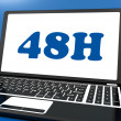 Stock Photo: Forty Eight Hour Laptop Shows 48h Service Or Delivery