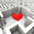 Finding Love Shows Heart In Maze — Stock Photo